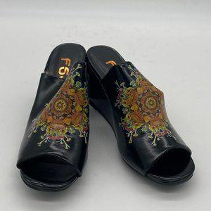 FSJ Black Peep Toe Wedge Slip On Sandals Heel Pump